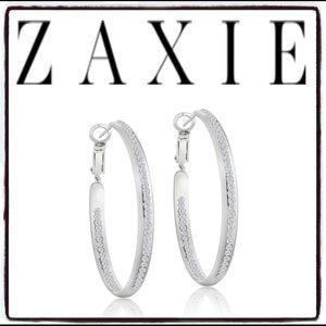 Zaxie Play it By Ear Pavé Hoop Earrings Silver NEW